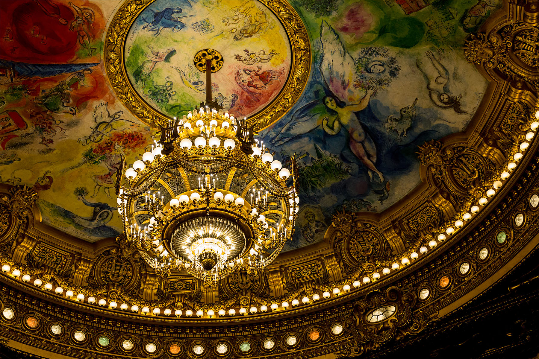The chandelier and ceiling painted by Marc Chagall.